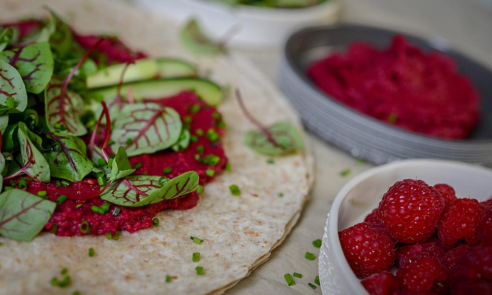 Beet and Raspberry Hummus, Végétarien