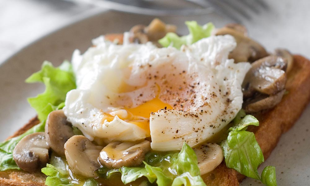 Poached Egg on Toast with Mushrooms and Garlic Blossoms, Déjeuners et brunchs
